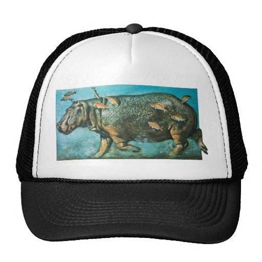 Vintage Hippo Illustration In The Water Mesh Hats