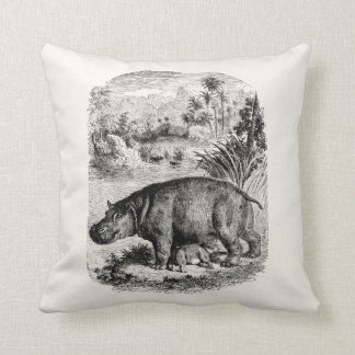 Vintage Hippopotamus Baby Personalized Retro Hippo Cushion