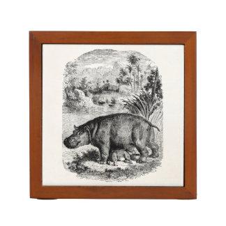 Vintage Hippopotamus Baby Personalized Retro Hippo Desk Organiser