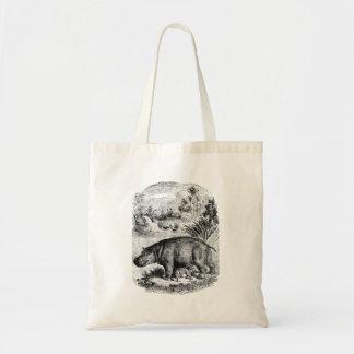 Vintage Hippopotamus Baby Personalized Retro Hippo Tote Bag