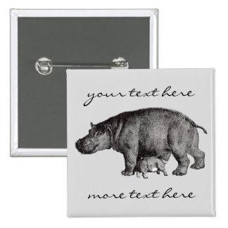 Vintage Hippopotamus Button