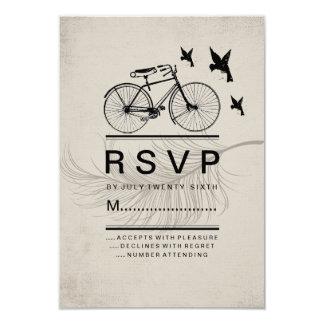 VINTAGE HIPSTER BICYCLE RSVP CARDS 9 CM X 13 CM INVITATION CARD
