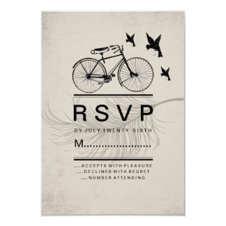 "VINTAGE HIPSTER BICYCLE RSVP CARDS 3.5"" X 5"" INVITATION CARD"