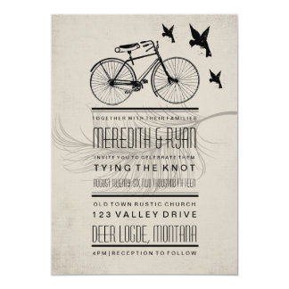 VINTAGE HIPSTER BICYCLE WEDDING INVITATION