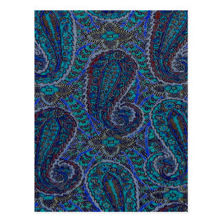 Vintage Hipster Blue Paisley Fabric Design Postcard