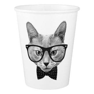 Vintage hipster cat paper cup