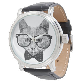 Vintage hipster cat watch
