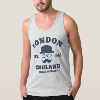 Vintage Hipster London England Bowler Hat Tank Top