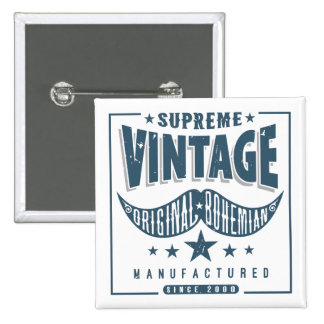 Vintage Hipster Mustache 15 Cm Square Badge