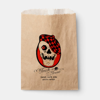 Vintage Hipster Skull Halloween Trick or Treat Favour Bags