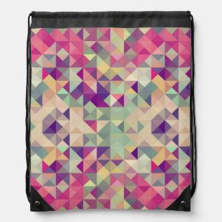 Vintage Hipsters Geometric Pattern. Drawstring Bag