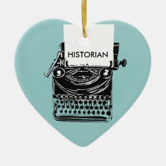 Vintage Historian Retro Typewriter Illustration Ceramic Heart Decoration