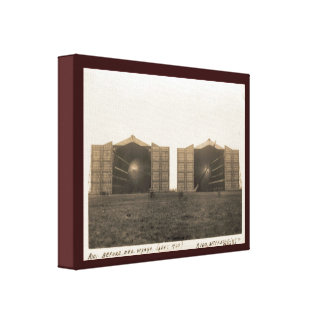 Vintage historic airship, Cardington airship sheds Canvas Print