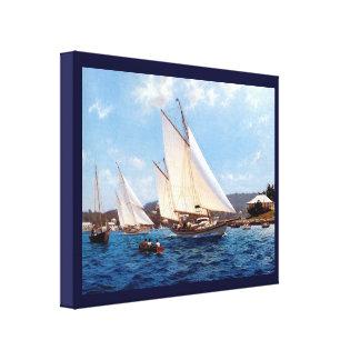 Vintage Historic  Gunter rig vessels Stretched Canvas Print