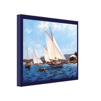Vintage Historic  Gunter rig vessels Gallery Wrap Canvas