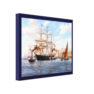 Vintage Historic  Sail and steam Canvas Print