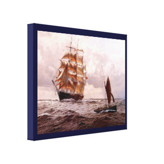 Vintage Historic  Sailing ships large and small Canvas Print