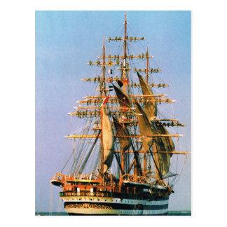 Vintage historic ships Amerigo Vespucci Italian Post Cards