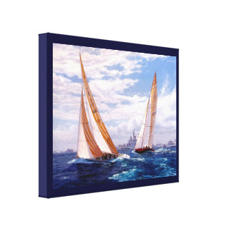 Vintage HistoricYacht racing with striped sails Canvas Print