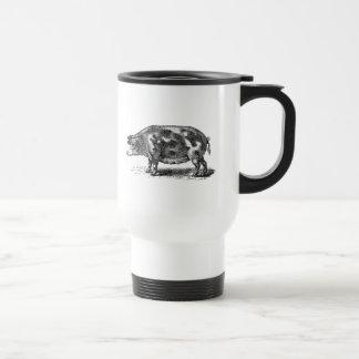 Vintage Hog Illustration - 1800's Pig Template Stainless Steel Travel Mug