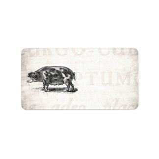 Vintage Hog Illustration on Old Paper 1800s Pig Address Label