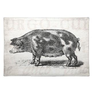 Vintage Hog Illustration on Old Paper 1800s Pig Placemats