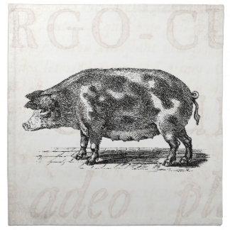 Vintage Hog Illustration on Old Paper 1800s Pig Napkin