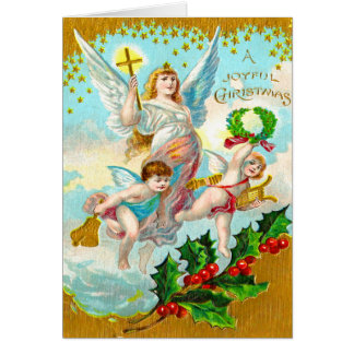 Vintage Holiday Angels Christmas Card