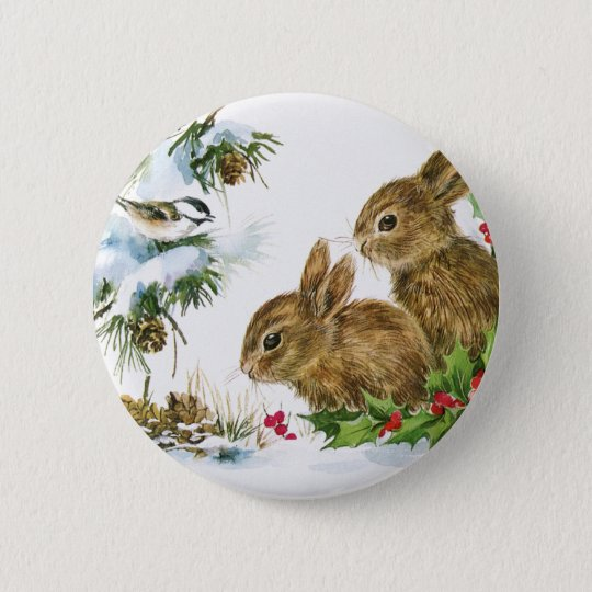 Vintage Holiday Bird and Bunnies 6 Cm Round Badge