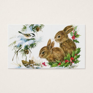 Vintage Holiday Bird and Bunnies Business Card