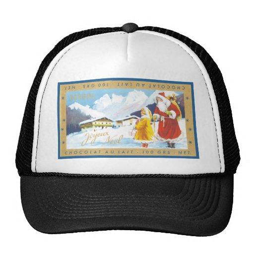 Vintage Holiday Chocolate Bar Label Mesh Hat