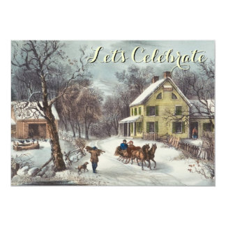 Vintage Holiday Currier & Ives Christmas Party 13 Cm X 18 Cm Invitation Card