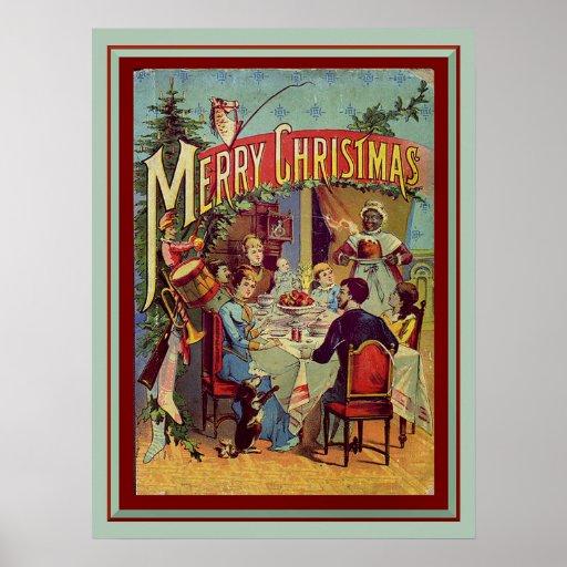 Vintage Holiday Dinner Merry Christmas Print