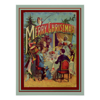 Vintage Holiday Dinner Retro Merry Christmas Poster