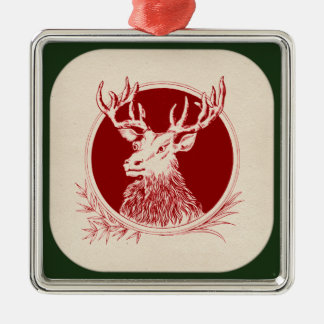 Vintage Holiday Elk Print Christmas Ornament