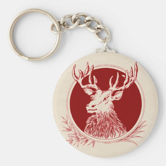 Vintage Holiday Elk Print Key Ring