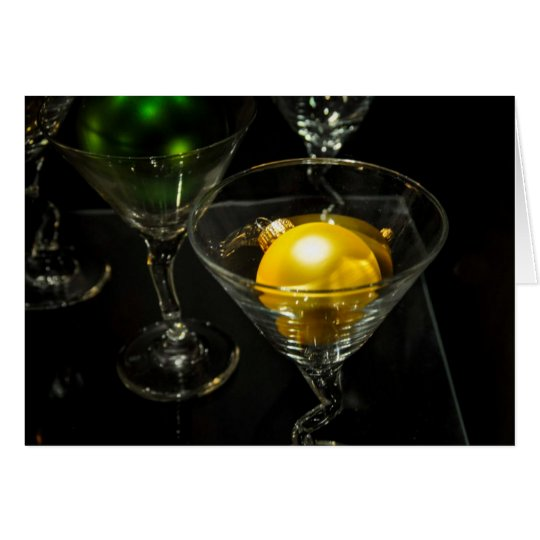 Vintage Holiday Ornament Ball Martini Card