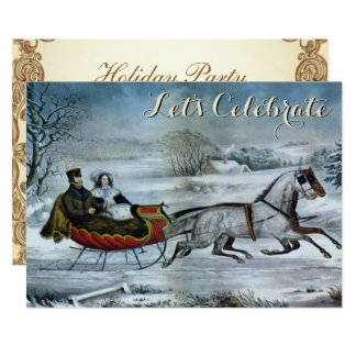 Vintage Holiday Sled Ives Christmas Card