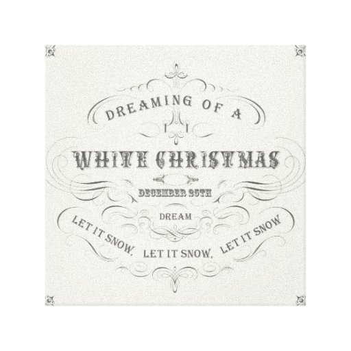 Vintage Holiday-White Xmas-stretched canvas Stretched Canvas Print