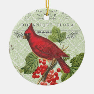 Vintage Holiday-Winter red cardinal-ornament Christmas Ornament