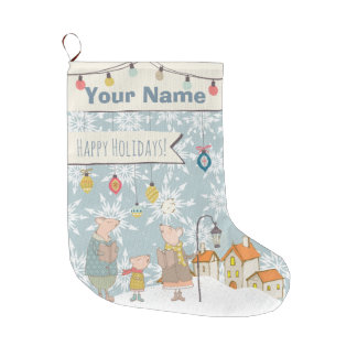 Vintage Holiday Your Name Personalized Monogram Large Christmas Stocking
