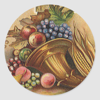 Vintage Holidys, Thanksgiving, Harvest and Pilgrim Classic Round Sticker