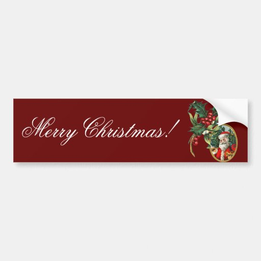 Vintage Holly and Santa Clause Christmas Bumper Sticker