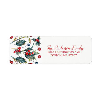 Vintage Holly Berry Christmas Address Label