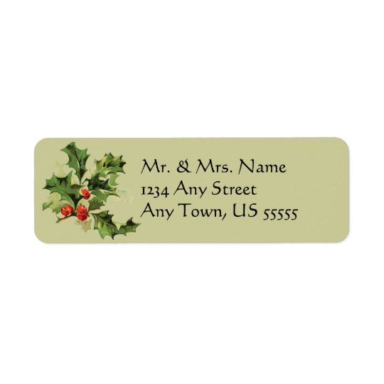 Vintage Holly Christmas Holiday Address Labels