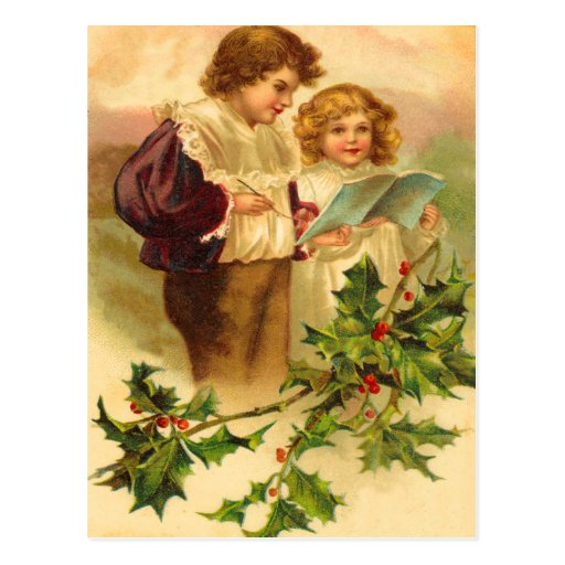 Vintage Holly Christmas Postcards