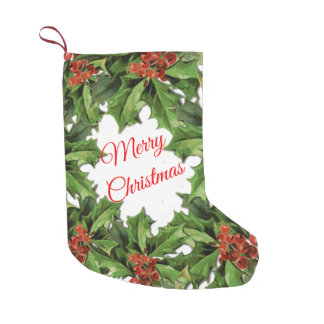 Vintage Holly Christmas Stocking