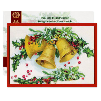 Vintage Holly Covered Gold Christmas Bells Ringing Card