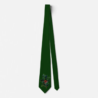 Vintage Holly Green Christmas Tie