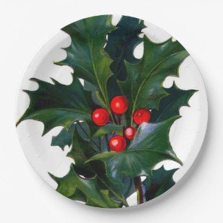 Vintage Holly Leaf Berry 9 Inch Paper Plate